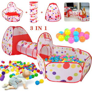 Kids Pop Up Play Tent Playhouse Baby Crawl Tunnel Ball Pit Indoor Outdoor Toys