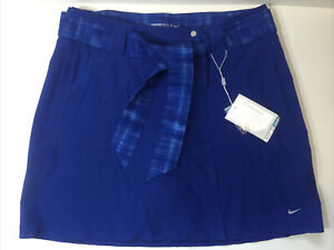 Nike Dri Fit Golf Skort 4 Blue Shorts Removable Skirt Belted Athletic 3 in 1 NEW