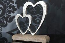 Deko Skulptur Herz 17cm Holz Metall silber abstrakt design Figur Objekt Shabby