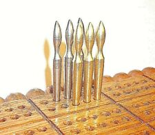 "6  2""  E-Z High Cribbage Pegs,  3-Stainless + 3. Brass. USA, FREE Velvet Pouch b"