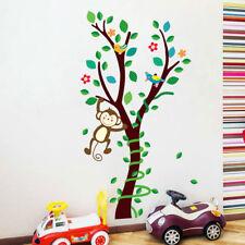 Monkey Tree Vines Wall Stickers Kids Decal Baby Nursery Art Wallpaper Gift