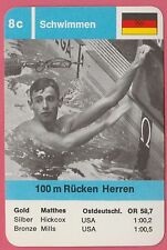 German Trade Card 1968 Olympics 100m Swimmer Gold Medal Winner Roland Matthes