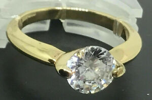 New Golden Coloured Cubic Zirconia Ring Size R Mothers Day Gift Valentines J250