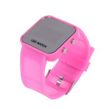 Pink Luxury Sport Style LED Digital Watch Mirror Surface Silicone for Lady X7B4