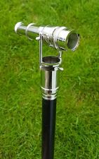 WOODEN WALKING STICK CANE BRASS TELESCOPE HANDLE ROSS LONDON NICKEL FINISH