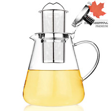 New Glass Teapot 1200ml Stovetop Safe Kettle Pot w Stainless Steel Tea Infuser