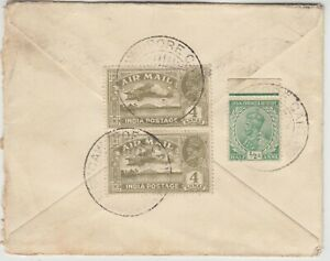 INDIA 1932 multi franked air mail cover *CAWNPORE CANT-DREM SCOTLAND*