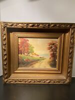 Vintage Oil Paintings Country Landscape Signed Antique Wood Gilded Frame Art