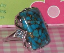 "Sterling Silver  Big 1"" Long Turquoise & Blue Topaz  Ring New in Box  Size 10.25"