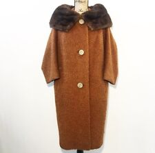 Vintage 50s Coat S M Brown Fur Collar Fuzzy Button Jacket
