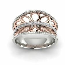 Two Tone Anniversary Gift Fine Band Ring For Women 925 Sterling Silver Filigree