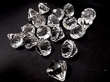 18pcs 20mm x 19mm Top Drilled Faceted Diamond Teardrop Acrylic Drops Beads CLEAR