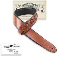 Walker & Williams G-28 Chestnut Brown Guitar Strap PaddedGlove Leather Back
