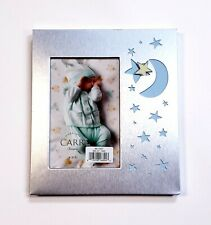 "New ListingCarr Baby Photo Blue Frame Moon & Stars Brushed Silver Metal Holds 4x6"" Picture"