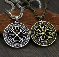 Antique Silver Norse Viking Odin Symbol Rune&Vegvisir Compass Pendant Necklace