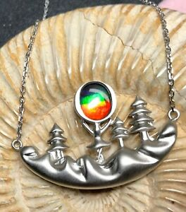 Ammolite Pendent Rainbow Color Forest&Moon Sterling Silver 44*27 mm #235-2