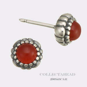Authentic Pandora Silver Carnelian July Birthstone Stud Earrings 290543CAR