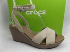 Crocs Leigh II Ankle Strap Wedge Sandals Espresso WOMENS SZ 11.0 M, NEW, D11298