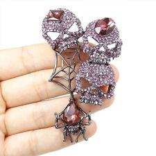 Skull Spider Animal Web Brooch Pin Purple Austrian Crystal Black Tone Halloween