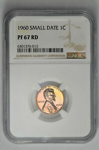 1960 Small Date 1C Proof Lincoln Memorial Cent NGC PF 67 RD