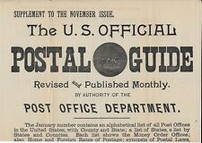 Early Undated Adv. Poster for Supplement to U.S. Official Postal Guide - Scarce!