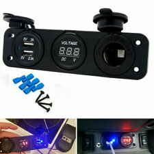 12V Car SUV Cigarette Lighter Socket Splitter Dual USB Power Adapter Charger Kit