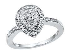Diamond Cluster Teardrop Ring 1/10 Carat (ctw) in Sterling Silver