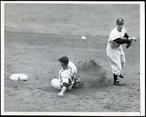 Ted Williams 1951 Red Sox Sliding into Phil Rizzuto Type 1 original photo