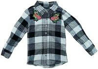 Girls Flannel Check Floral Bouquet Shirt Roll Sleeve Blouse 7 to 15 Years