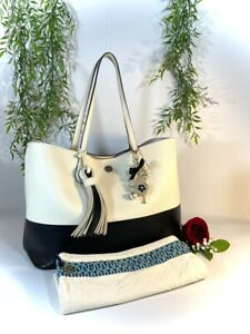 Tory Burch Soft Leather Black and White Tote Handbag Purse with Dust Bag