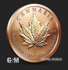 2021  CANNABIS   1 oz. Copper Round Coin  Silver Shield