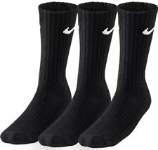 Nike Crew Cotton Socks Cushioned Unisex 3 Pairs Long Training Sports Running XL Black