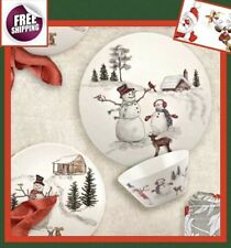 Set Dinnerware 12 P Dishes Plate Bowl Vintage Christmas New Year Holiday Snowman