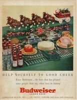 1953 Budweiser PRINT AD Anheuser Busch Darling Table Setting Clydesdale Vintage