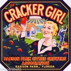 Babson Park Florida Cracker Girl #1 Orange Citrus Fruit Crate Label Art Print