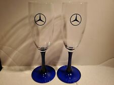 Set of 2 Cobalt Blue and clear Crystal Wine Glasses, Mercedes Benz