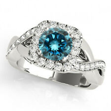 1.04 Carat White And Blue Fancy Diamond Solitaire Wedding Ring 14k White Gold !!