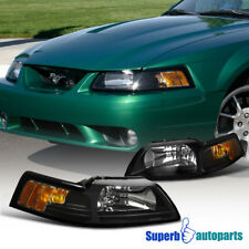 1999-2004 New Edge Ford Mustang Replacement Headlights Lamps Black Left+Right