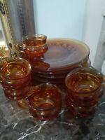 "Vintage Amber Indiana Glass Party Set of 6 Luncheon 10.5"" Plate & Mug Thumbprint"