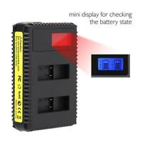 Action Camera Battery Charger Dual Slot USB Charging Accessory for Gopro 7/6/5