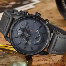 Fashion Curren Men Sports Date Analog Quartz Leather Stainless Steel Wrist Watch
