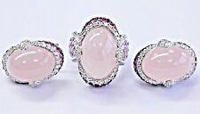 18Kt Rose Quartz Pink Sapphire & Diamond White Gold Jewelry Set 55.40Ct