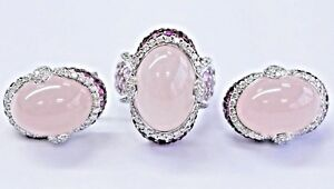18Kt Rose Quartz NATURAL Pink Sapphire & Diamond White Gold Jewelry Set 55.40Ct