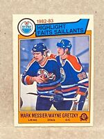 1983-84 O-Pee-Chee OPC #23 Mark Messier/Wayne Gretzky Highlight Edmonton Oilers