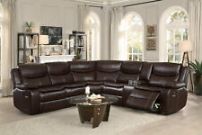 NEW Modern Sofa Sectional Brown Faux Leather Reclining Living Room Couch Set F6E