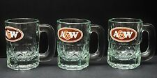 A & W VINTAGE 1956 ROOT BEER SET OF 3 MUGS BABY SMALL SIZE HEAVY GREEN GLASS