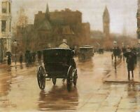 Columbus Avenue by Childe Hassam Giclee Fine Art Print Reproduction on Canvas