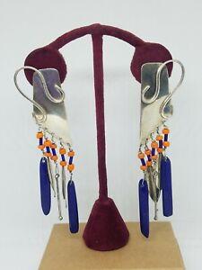 Vintage Artisan Sterling Blue Lapis Dangle Large Pierced Earrings Signed
