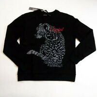 Men Hudson crewneck Sweater size LARGE 100%AUTHENTIC black cheetah