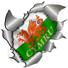 Large Metal Rip Torn Open Welsh Flag Sticker JDM Race Car Van Boat VW Bike